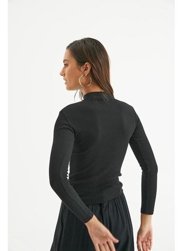 Reyon Reyon Yaka Bantlı Uzun Kol Kaşkorse Kadın Bluz Siyah